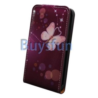 Butterfly Purple Flip Vertical Leather Cover Case For Samsung Galaxy