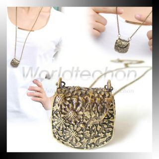 1PCS Personality Retro Carved Metal Messenger Bag Pendant Necklace