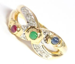 14kt 585 Damen Gold Ring Diamantring Diamant Rubin Smaragd Saphir