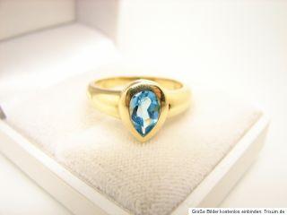 Blau Topas Ring 585er 14kt Gold Goldschmuck Schmuck Gelbgold Tropfen