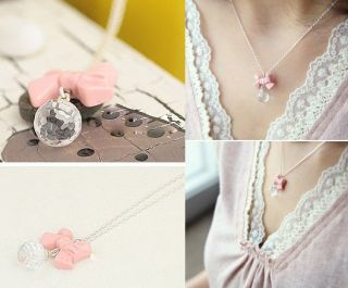 Gk4510 New Fashion Jewelry Womens Pink Bowknot Beads Necklace Chain