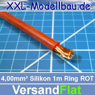 1m Silikonkabel 4,0 qmm 50 Ampere Farbe ROT Made in Germany Silikon