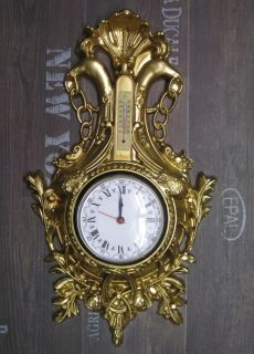 Wanduhr Schwan in Gold mit Thermometer Antik look 38x65cm BAROCK