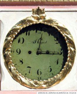 Antike Uhr Bornholmer Standuhr Weiß Gold Rosa um 1850