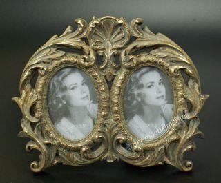 Barock Rokoko Bilderrahmen Fotorahmen 2 Fotos Bilder Rahmen oval Gold