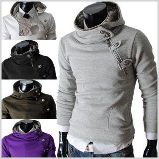 4BH) Mens casual luxury buckle hoodie slim sweatshirts