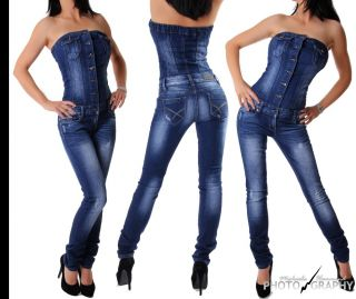 Neu Damen SeXy Jeansoverall Jeans Overall blue washed Stretch Denim XS
