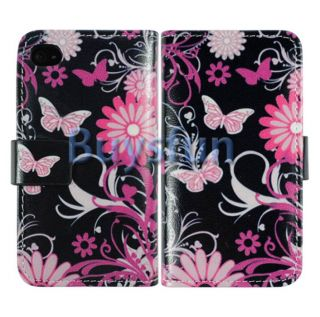 Butterfly Wallet Leather Case Cover New For Apple iPhone 4 4G