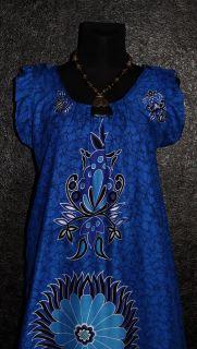 MANDALA TUNIKA KAFTAN KLEID 48 50 Blau Hippie Vintage 70er Abaya Dress