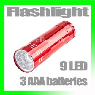 New Mini 9 LED Taschenlampe Lampe Licht Helle 3 AAA Batterien Red