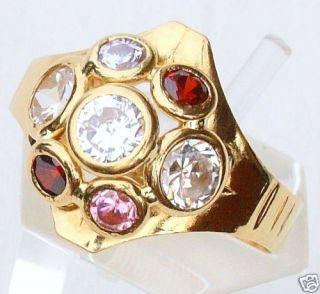18kt 750 Damen Gold Ring Gelbgold Goldring Ziersteine Glas Steine