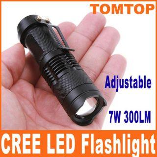 7W 300LM Mini CREE LED Flashlight Torch Adjustable Focus Zoom Light