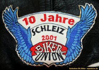 Motorrad Leder Weste Spencer Kutte Club Abzeichen Lederweste Schwarz