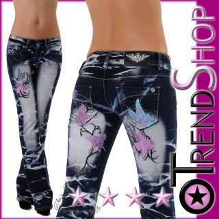 Neu Crazy Age Damen Jeans Hose Türkis Pink Butterfly Batik Style