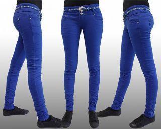 Damen Bunte Jeans Röhrenjeans Hose + GRATIS GÜRTEL Gr. XS,S,M,L,XL