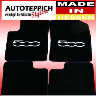 Q100 schwarz Fussmatten fuer Fiat 500 ab Bj 2007 in versch Farben z B