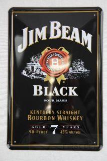 Blechschild Jim Beam Black Bourbon Whiskey 20x30 cm Party Bar Deko