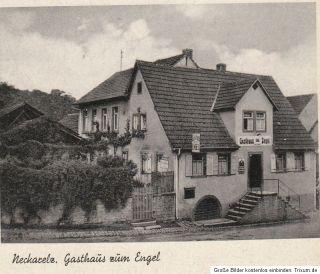 Neckarelz alte Fotokarte mit Gasthaus zum Engel H. Bussfeld selten