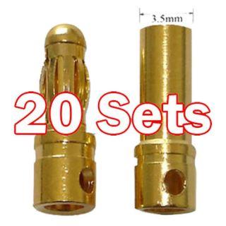 20x Paar 3,5 mm 3,5mm Lipo RC Akku Stecker vergoldet