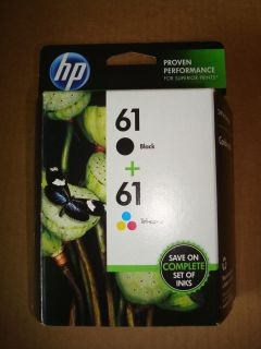 HP # 61 INK, COMBO PACK, BLACK AND TRI COLOR