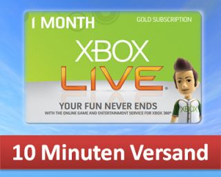 XBOX 360 LIVE GOLD 1 MONATE MONTH MITGLIEDSCHAFT CARD KARTE