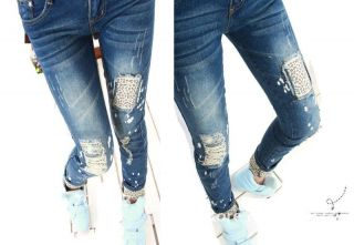NEU 2012 2013 Damen Jeans Leopard Muster Used Look Fashion Style