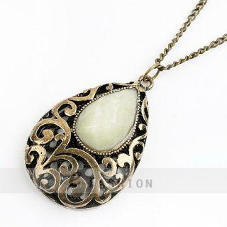 Halskette Tropfen Anhänger Retro Gravur Damen Lange Kette necklace