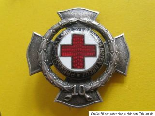 Nadel Abzeichen Orden Rot Kreuz Email Kreuz 10J Godet 3,7cm