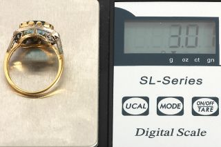 GELEGENHEIT AUS PRIVATBESITZ#805 ANTIK RING GOLD 750 MIT AQUAMARIN