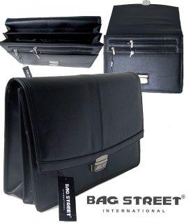 Aktentasche schwarz Leder Laptop Tablet Tasche Collegemappe Business