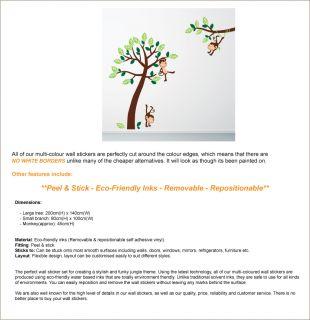 Affen Dschungel Baum Kinder Zimmer Wand Sticker Aufkleber Dekoration