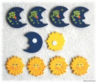 Streudeko, Streuteile aus Holz mit Klebepad, Sonne & Mond, NEU & OVP