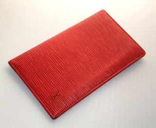 Authentic Louis Vuitton Red Epi Leather Wallet card holder USED Poor