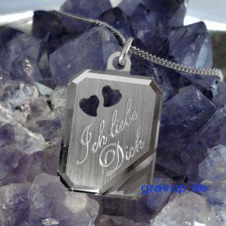 Anhänger Ich liebe Dich + Kette mit Gravur Silber 925