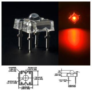 50 Stück LED 3mm high flux Piranha ROT Rote 80°