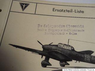 WW2 GERMAN LUFTWAFFE ERSATZTEILLISTE JUNKERS JU 87 B 1 STUKA ORIGINAL