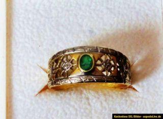 HOCHWERTIGER Damenring Ring 585 Gold Smaragd antik Schmuck