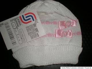 Baby Mütze Mädchen weiß rosa mit Perlen Gr 62 68 Kindermütze