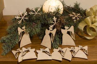 Weihnachtsdekoration,Weihnachtsanhänger aus Holz,Baumschmuck,Sterne