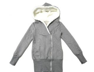 new casual Japan womens hoodie outerwear JACKET tops w/ OFF CENTRE ZIP