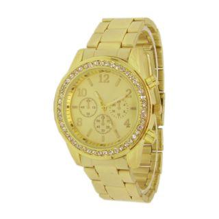 Exklusive Edelstahl Uhr Armbanduhr Damenuhr Herrenuhr Gold Strass