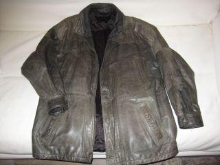 Herren Leder Jacke Mantel Lederjacke Echt Leder schwarz grau Gr. 50