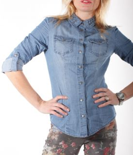 Only Rock it Front Shirt Fitted Bluse Denim Nietenbluse Jeansbluse