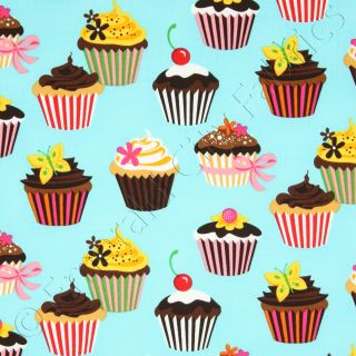 Robert Kaufman Sweet Tooth Cupcakes Turquoise Cotton Quilt Quilting