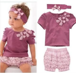 3tlg Baby Sommer Set Mädchen NEU Blume Rosa Kleid + Hose + Haarband