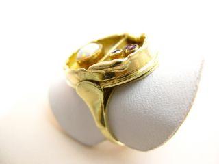 R863 585er 14kt Gelbgold Gold Ring in Handarbeit Opalring mit Opal