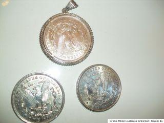USA 3 Morgan Dollar 1 x 1898   2 x 1921 Ein Dollar mit Fassung.