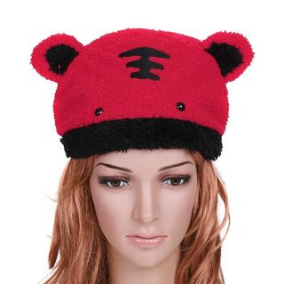 Stylish Lovely Soft Warm Red Cartoon Tiger Velveteen Cap Hat for