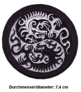 TRIBAL DRAGON YING YANG Aufnäher Patches Tattoo Drachen V2 Chopper