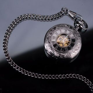 Mens Elegant Design Analog Mechanical Pocket Watch Gift with chain